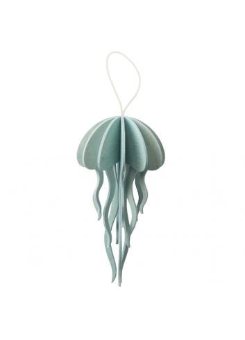 Medusa azul pequeña de madera