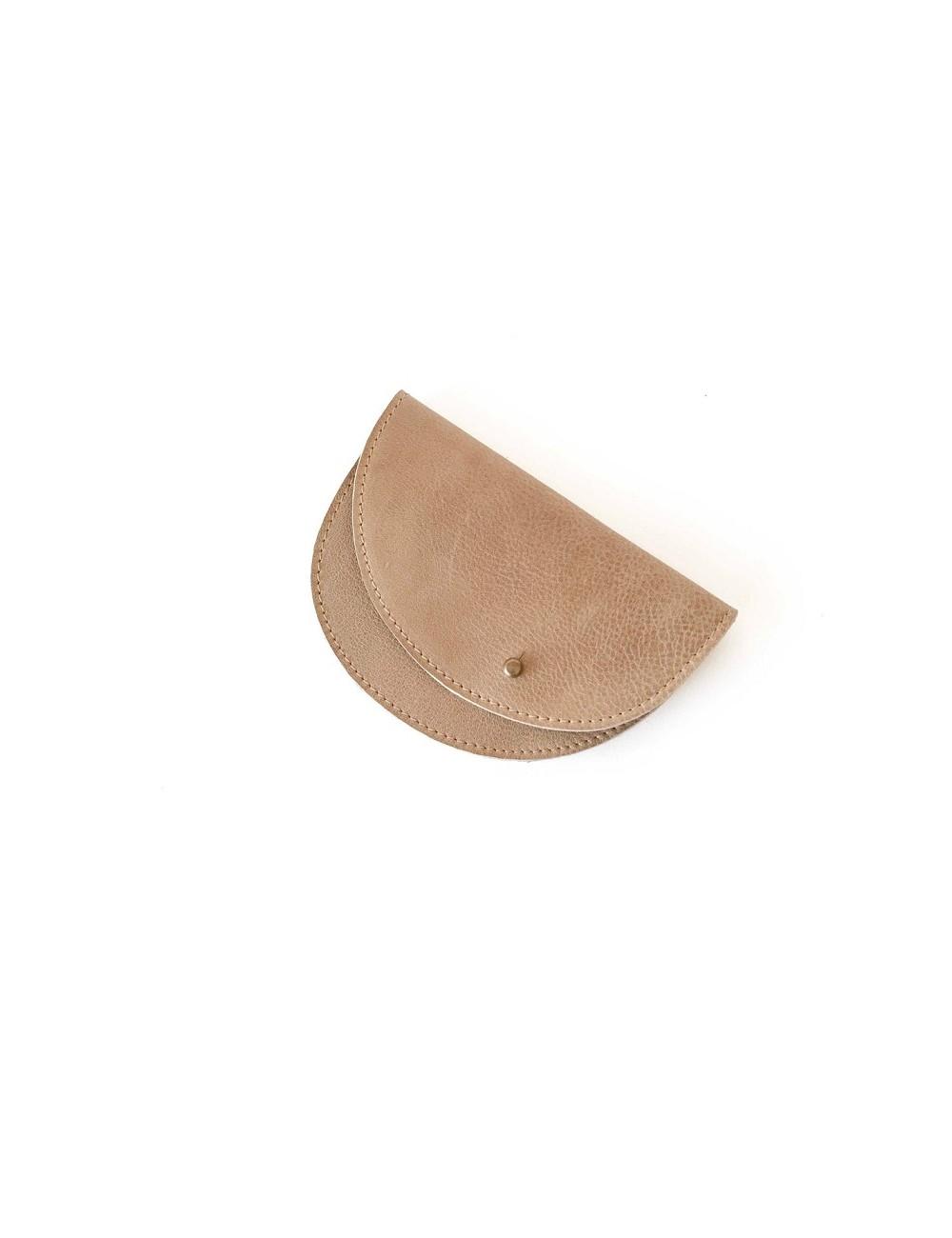 Monedero de piel camel
