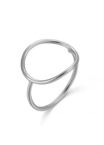 Anell cercle gran plata